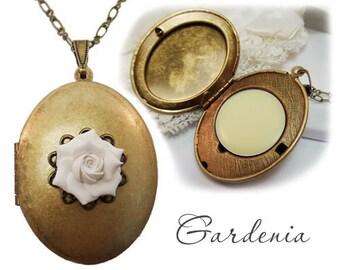 Gardenia Solid Perfume Locket  - Refillable Gardenia Perfume Jewelry, Gardenia Fragrance Necklace, Gardenia Jewelry, Gardenia Gift
