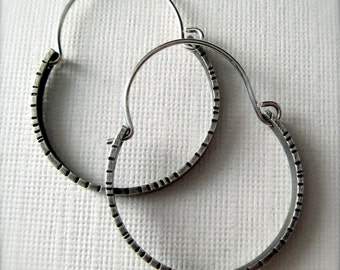 Simple Textured Hoop Earrings,  Sterling Silver Earrings