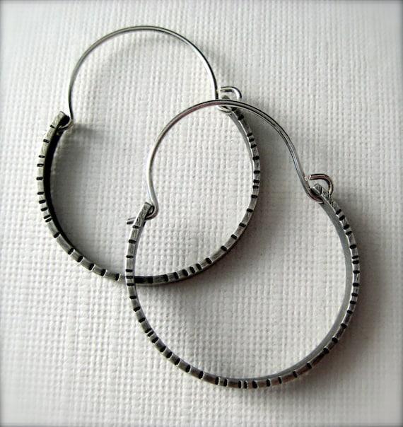Simple Textured Hoop Earrings,  Sterling Silver Earrings
