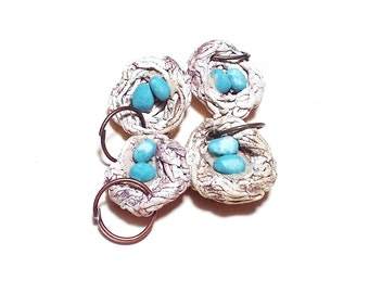 Bird Nest Charms Ceramic Pottery Set of 4 Pendant Birds Nest Gray White Turquoise Necklace Pendants Bird Nest Beads Jewelry Craft Supply