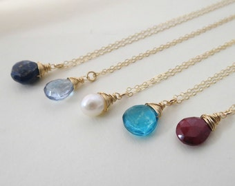 ThreeGemstone Necklaces,STONE of your CHOICE,  Gold Filled or Sterling silver  Necklaces, Bridal Party Necklaces, Bridesmaid,Wedding Jewelry