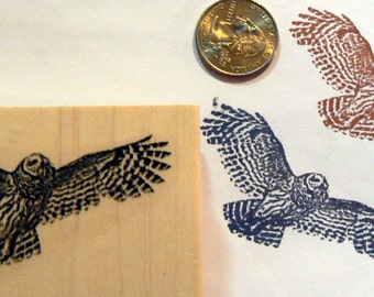 Flying owl rubber stamp P53
