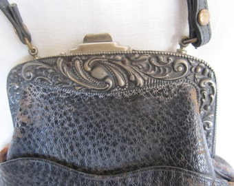 SALE Antique 1901 Leather Purse With Ornate Frame, 113 Years Old Was 39.99 Now 34.99