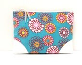 Floral Clutch Purse, Red Yellow Pink White Flowers on Blue, White Vegan Leather
