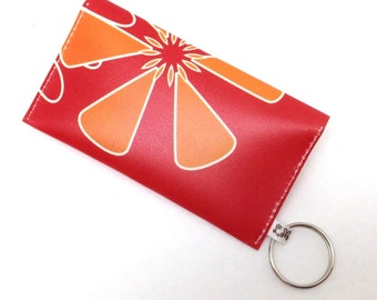 Business Card Holder, Gift Card Case - Orange Flower on Red