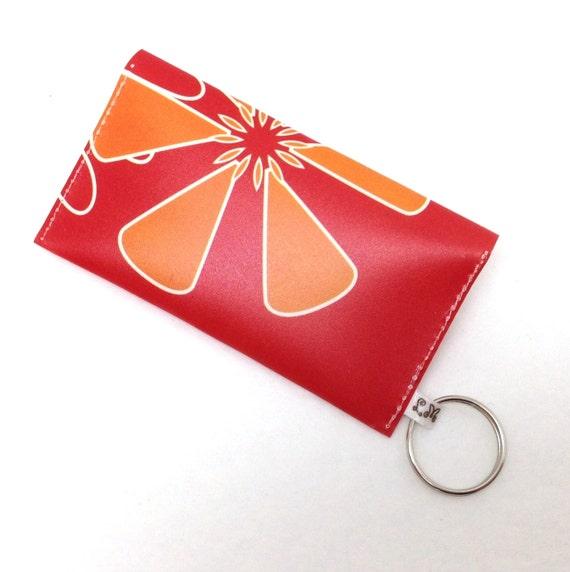 Business Card Holder Gift Card Case Orange Flower On Red