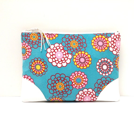 Floral Clutch Purse Red Yellow Pink White Flowers On Blue