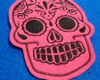 Day of the Dead, Sugar Skull embroidery patch hot pink and black iron on