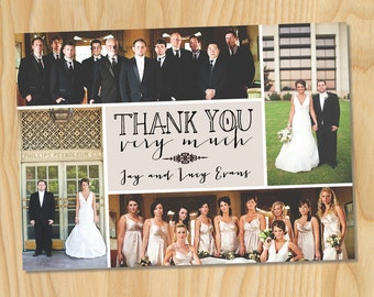 Vintage Fonts Collage - Custom Printable Wedding Photo Thank You Cards