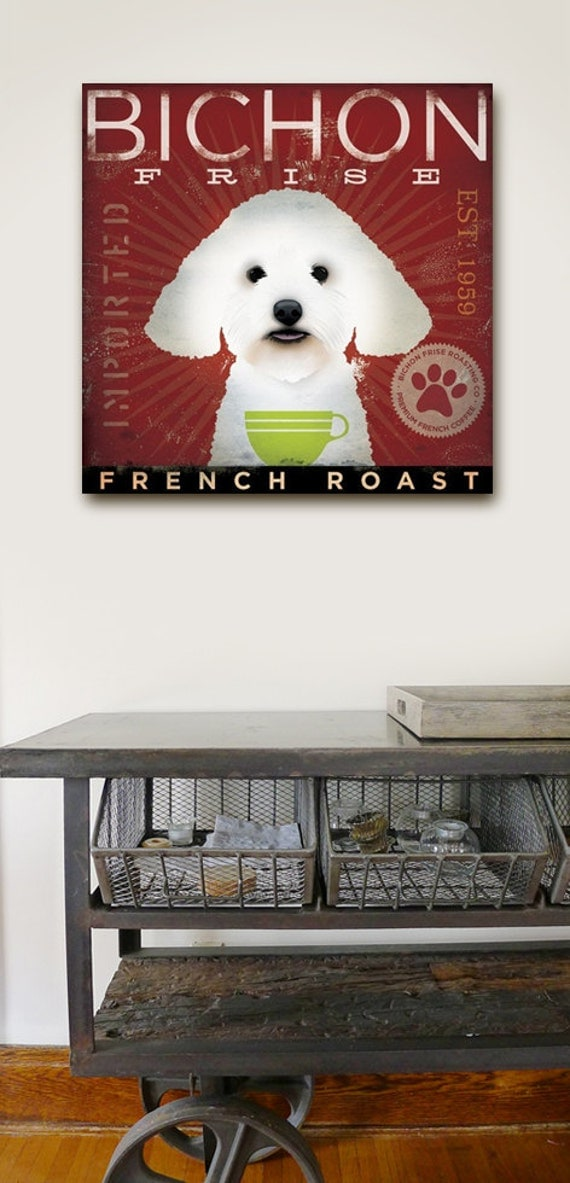 BICHON FRISE dog coffee company vintage style dog artwork on gallery wrapped canvas by stephen fowler