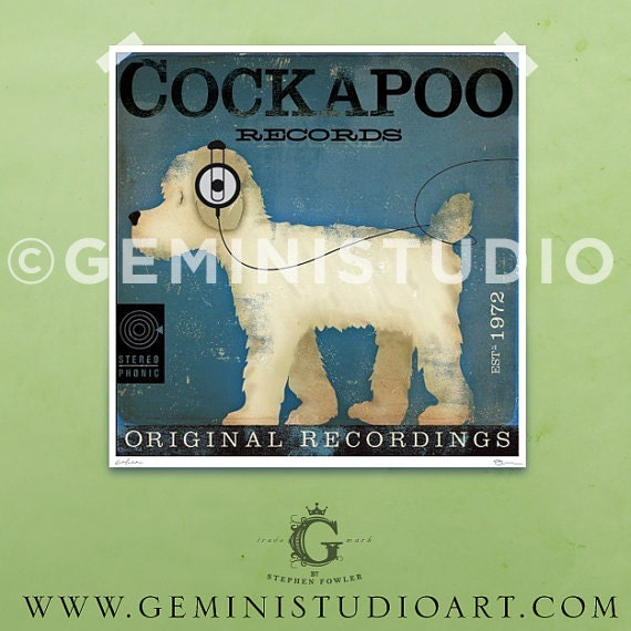 Cockapoo records DOG graphic artwork giclee archival signed print by stephen fowler Pick A Size