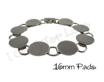 Disk / Loop Bracelet Blank Chunky 8.25 Inch with 16mm Glueable Pads - 10 PERCENT REFUND