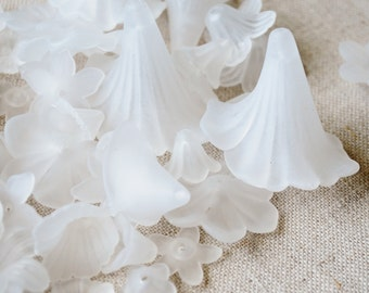 50 Assorted White Frosted Flower Beads