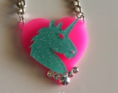 UNICORN HEAD turquoise n pink laser cut necklace