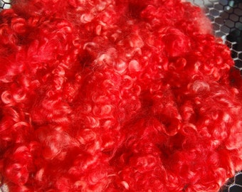 Cotswold Wool Locks, Locks for Spinning, Needle Felting, Wool Doll Hair, Doll Wig, Blythe Doll Reroot, Hand Dyed Red Orange 1 oz.