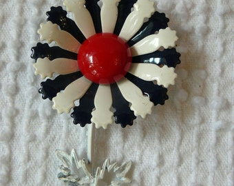 Vintage Enamel Flower Brooch - Red White and Blue - Perfect for summer holidays and vintage gift giving