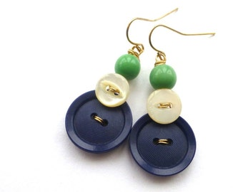 Navy Blue and White Button Dangle Earrings with Kelly Green Beads