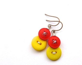 Yellow and Red and Vintage Button Earrings