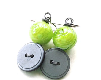 Lime Green and Gray Button and Bead Dangle Earrings