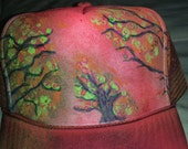 abstracted trees & flowers snapback trucker hat