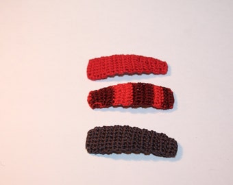 Girls Hair Clips, Crochet Hair Clips, Hair Accessories, Holiday Stocking Stuffer,  Medium Hair Clip Trio, Red, Red Mix, Charcoal Grey