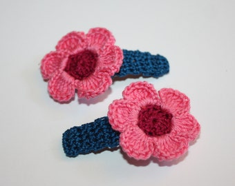 Girls Hair Clips, Flower Hair Clips, Crochet Hair Accessories, Gift for Girls, Dark Turquoise with Burgundy and Candy Pink Flowers