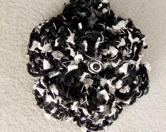 Crochet Flower Pin Brooch - Black and White