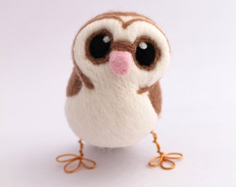 Barn Owl Needle Felted Owl Brown Owl Decoration, Felt Bird Ornament, Felt Owl