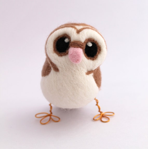 Barn Owl Needle Felted Owl Brown Owl Decoration With Heart Shaped Face