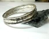 Silver Bangle Bracelet, Silver Bracelet, Solid 925 Sterling Silver Bangle Bracelet, Unisex Bangle, Boho Chic Bangle, Hammered Bracelet