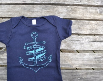 Baby shirt baby bodysuit onesie Lake Champlain Vermont baby newborn baby clothes navy blue baby boy baby girl vermont baby anchor nautical