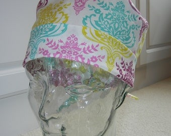 Tie Back Surgical Scrub Hat with Aztec Damask