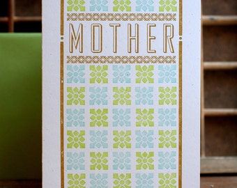 Mother blue and chartreuse letterpress card