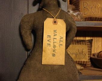 Primitive Witch silhouette door greeter or cupboard tuck halloween decor
