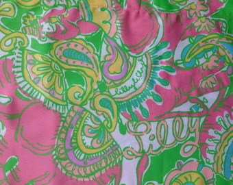 """sparkle pink chin chin egyptian cotton fabric square 18""""x18"""" ~ lilly pulitzer ~ garnet hill"""