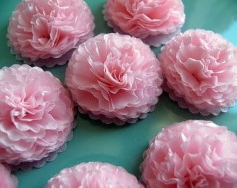 Button Mums Tissue Paper Flowers  1 inch Baby Pink Wedding, Bridal Shower, Baby Shower Decor
