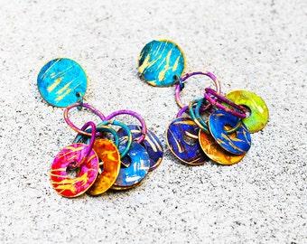 African Earrings, Brass Earrings, Colorful Earrings, Hoop Dreams Color Burst African Brass Post Earrings