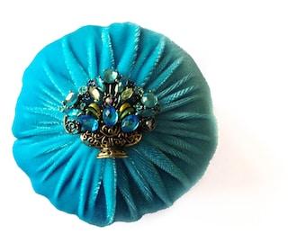 "4"" Aqua Emery Pincushion / Pin Cushion - Abrasive Pincushion"