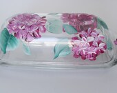 Pink Hydrangea Butter Dish Hand Painted