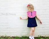 Retro  1960's style  Red Striped Bib Layla dress...  ruffle-children clothing red white blue