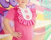 Retro Style Layla dress with bib and ruffles- Valentine,children clothing-girls dresses