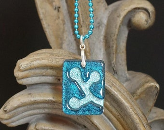 Berries Aqua Carved Dichroic Glass Pendant - FREE SHIPPING!