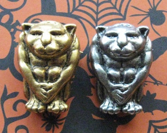 Gargoyle Pin Brooch Day of the Dead Flying Monkey Figural Face Repurpose Art Jewelry Assemblage Findings