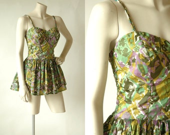 SALE /// 50s Swimsuit --- Vintage Catalina Green Floral One Piece