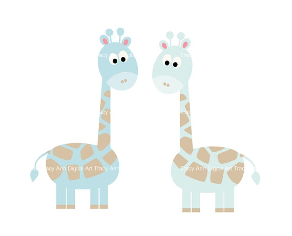 Items Similar To Baby Blue Giraffe Clip Art On Etsy