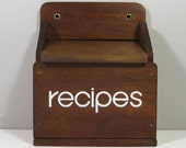 Mod Cool Wooden Recipe Box Late 1970s Font