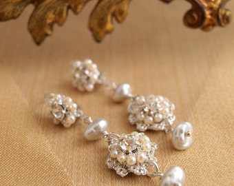 "Delicate Pearl Wedding Earrings / Silver Lace/ Bridal Jewelry / White Pearls / Vintage Rhinestones / ""Baby's Breath"""
