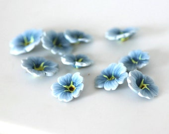 Forget Me Not Beads, Polymer Clay Beads, Blue Flower Beads 10 pieces
