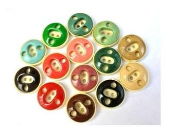 14 Vintage plastic buttons 9 assorted colors unique design , 21mm