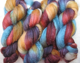Handpainted Rovings -- Blueface Leicester and Silk
